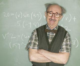 Professor at chalk board